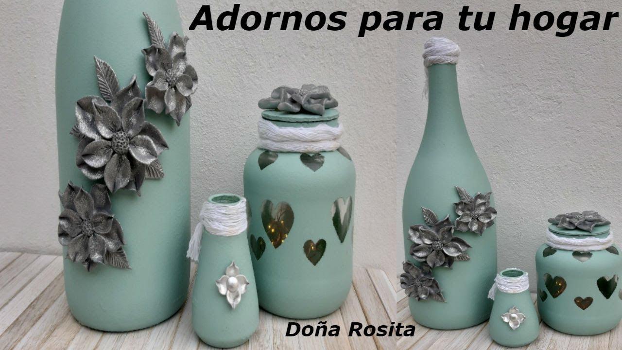 Diy 3 manualidades con reciclaje de botellas y frascos de - Manualidades con botellas de cristal ...