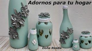 DIY 3 manualidades con reciclaje de botellas y frascos de vidrio , manualidades facil de hacer