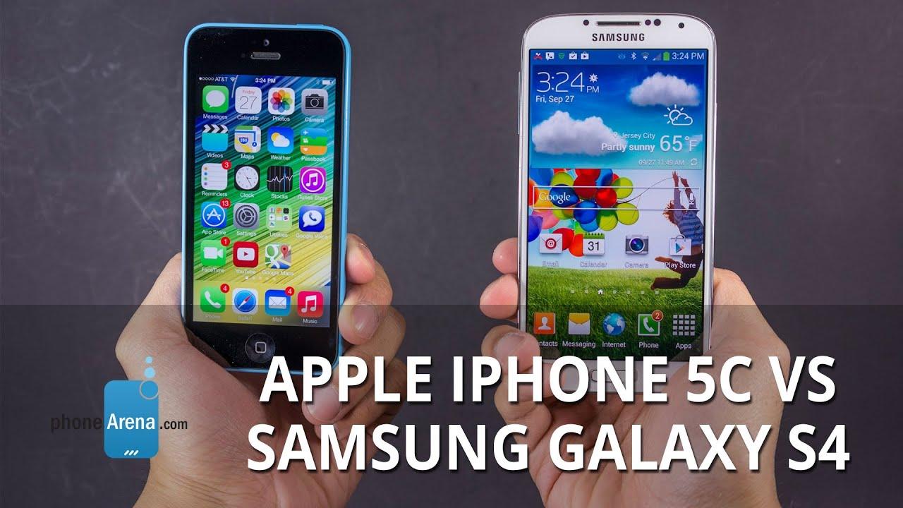 Apple iPhone 5c vs Samsung Galaxy S4 - YouTube