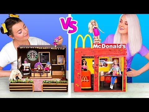 Nunca Eres Grande Para Las Muecas!/DIYs De Starbucks Para LOL Surprise vs De McDonalds Para Barbie