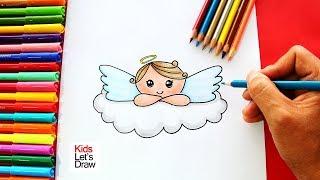 Cómo dibujar un ANGEL de Navidad de foma fácil | How to draw a Christmas Angel