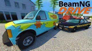 Insane Mystery Machine Police Chase & Escape! - BeamNG Gameplay & Crashes - Cop Escape