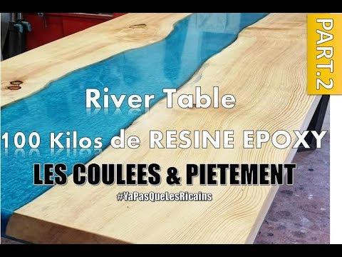 Part 2 3 River Table 100 Kilos Couler La Resine Epoxy Resin