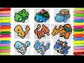 Drawing All Generation 1 Pokemon Starters | Pixel Art
