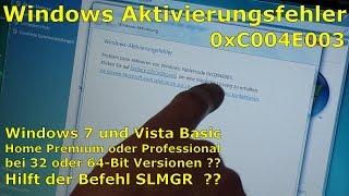 Windows Aktivierungsfehler 0xC004E003 nach Neuinstallation