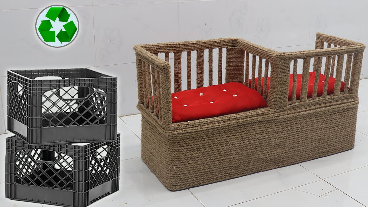 Storage Table & Double Chair from Waste Materials   Jute Craft Ideas