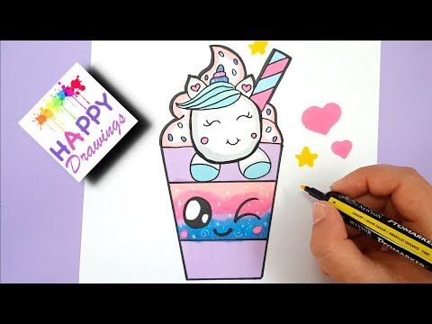 HOW TO DRAW A CUTE UNICORN DRINK STARBUCK - EASY STEP BY STEP