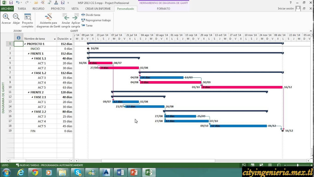 Ms Project 2013 (47)  Diagrama Gantt, Ruta Critica CPM