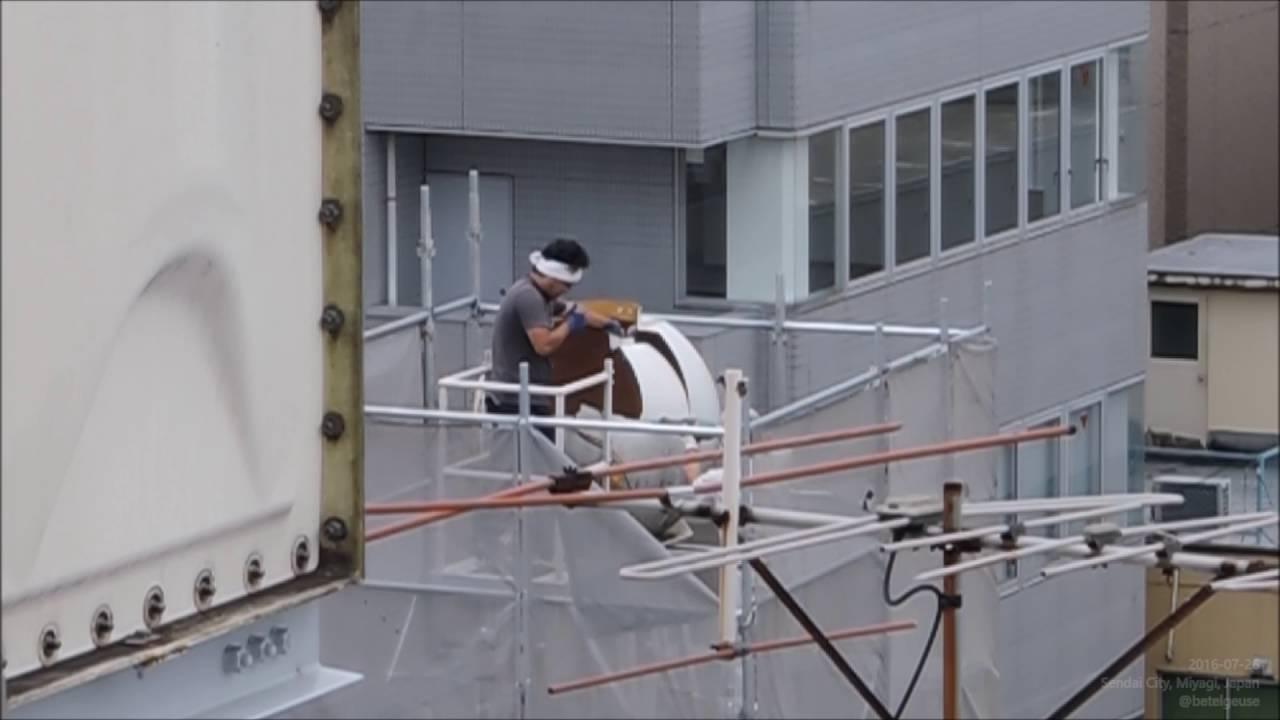 Water Tank Demolition : 球形の屋上貯水タンク(高置水槽)解体工事 water tower tank demolition youtube