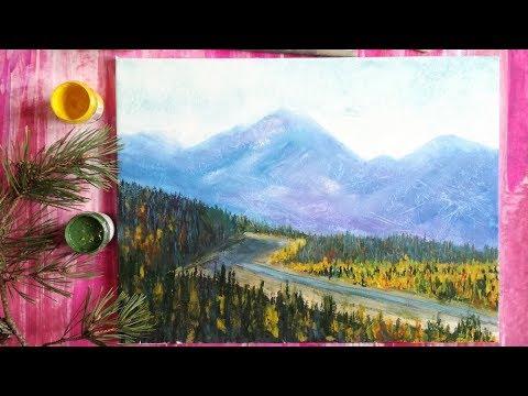 видео: Рисуем дорогу в горах гуашью
