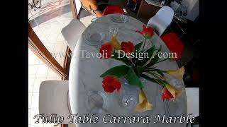 Video: 199 x 121 cm oval Tulip table - Carrara marble