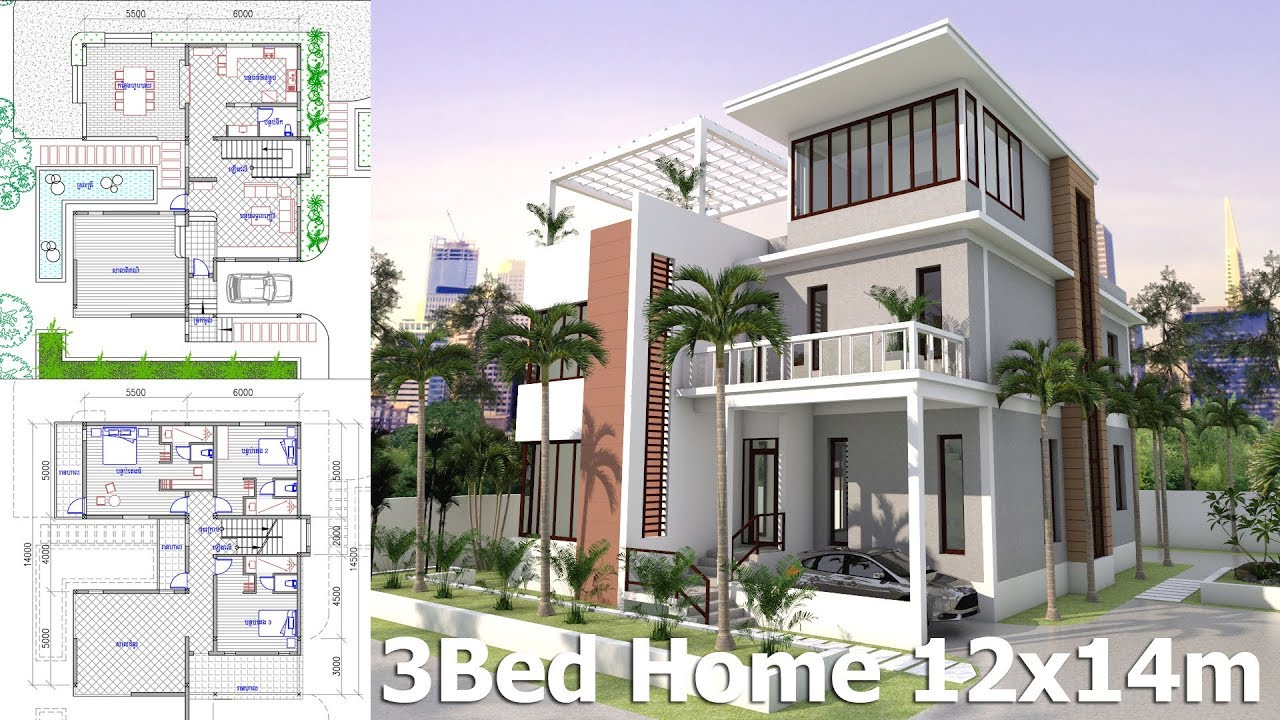 home design plan 12x14m with 3 bedrooms 89393