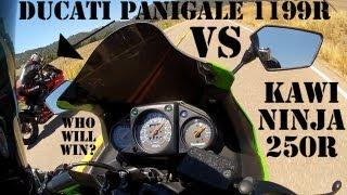 2013 Ducati Panigale 1199R versus 2009 Kawasaki Ninja 250R Drage Ra...