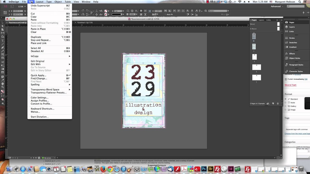 working with the page tool in indesign to create business card