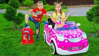 Кончился бензин! Мелисса и Артур играют с автомобилями для детей