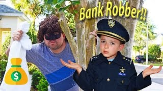 The Bank Robber vs Despicable Me Gru entertaining childrens comedy video with kid brothers and toys