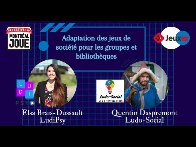 Adaptation des jeux de société pour les groupes et bibliothèques (Montréal Joue)