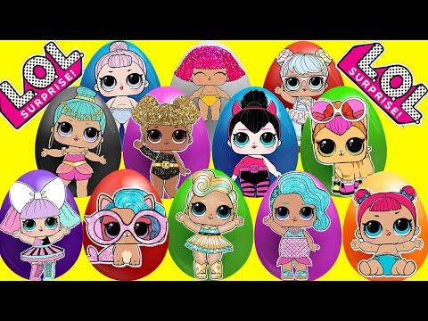 LOL Surprise Dolls Mega Egg Video 15 Eggs with Surprise Toys, Play Doh, Slime and Wrong Clothes