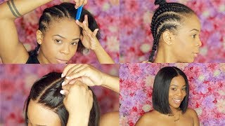 UPDATED : Braiding Pattern for Lace Front Wig and Complete Install  | My First Wig