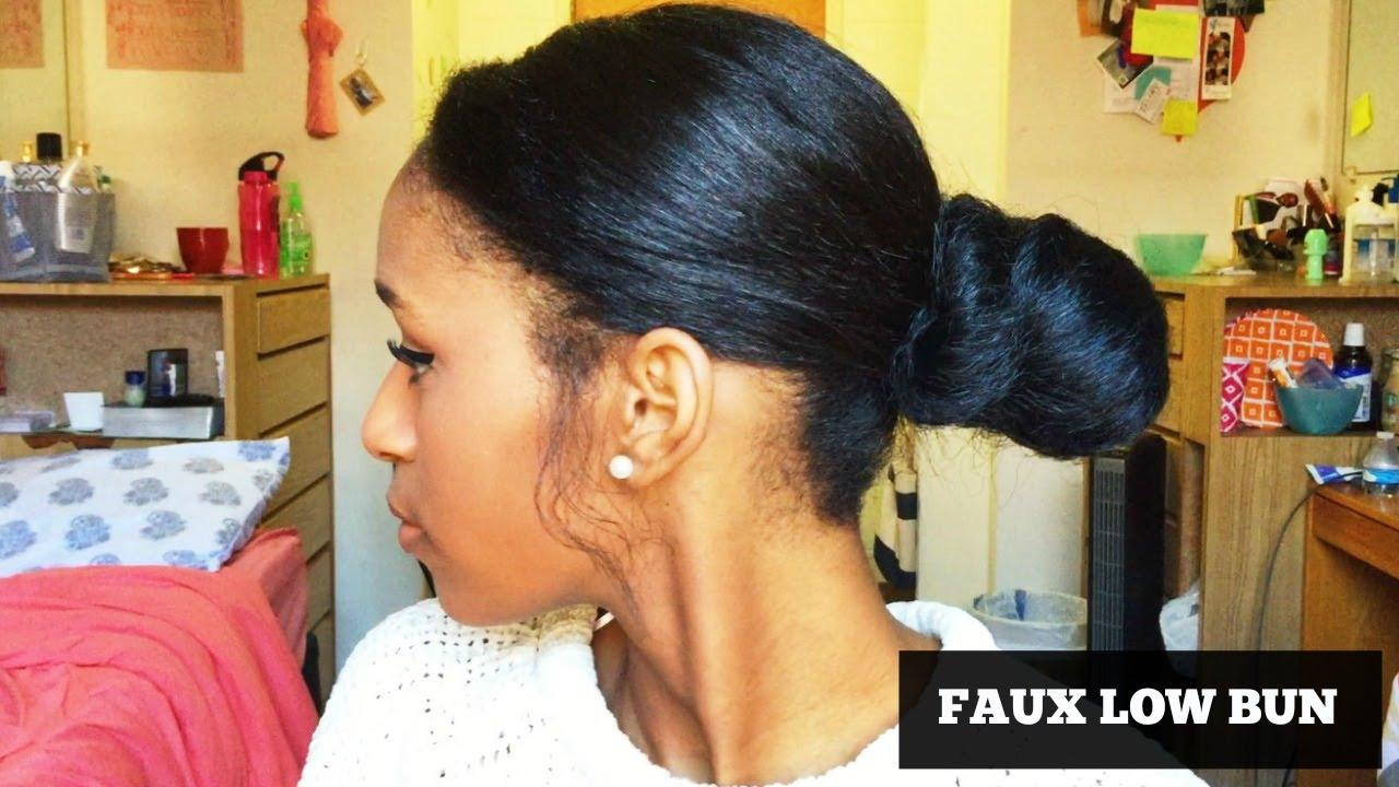 How To Fake A Sleek Ponytail Bun On Short Natural Hair