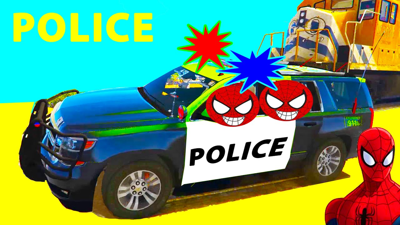 What Rhymes With Car >> Police Car and SPIDERMAN for Children Cartoon with ...
