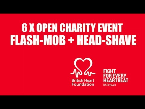 #SIXTIMEOPEN Flash Mob and Head-Shave in Piccadilly Circus | British Heart Foundation
