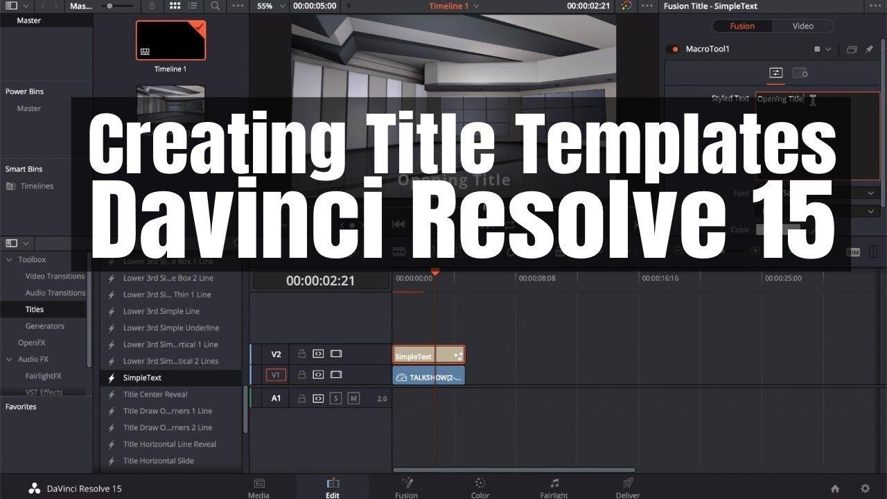 Create Title Templates In Fusion Davinci Resolve 15