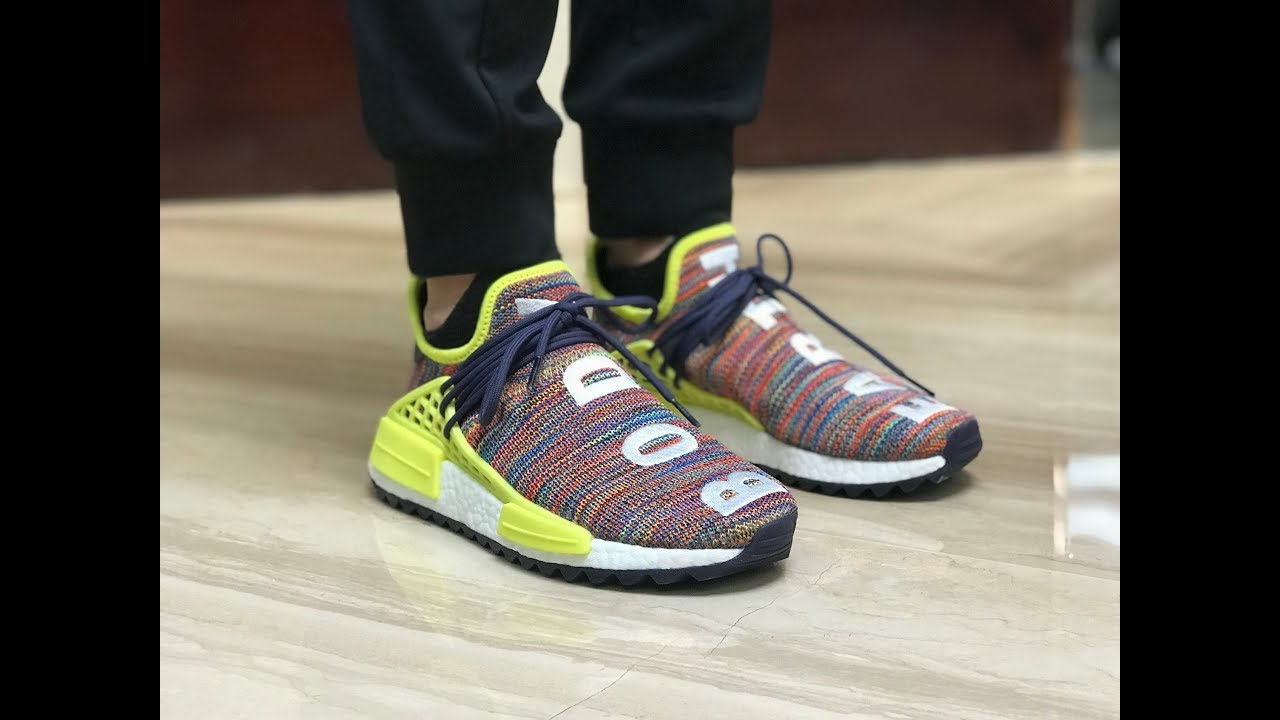 sneakers for cheap 1f469 b879b Pharrell Williams x Adidas Human Race NMD Multicolor On Foot Review
