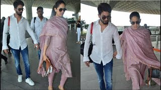 Mira Rajput FLAUNTING Her Baby Bump With Shahid Kapoor At The Airport