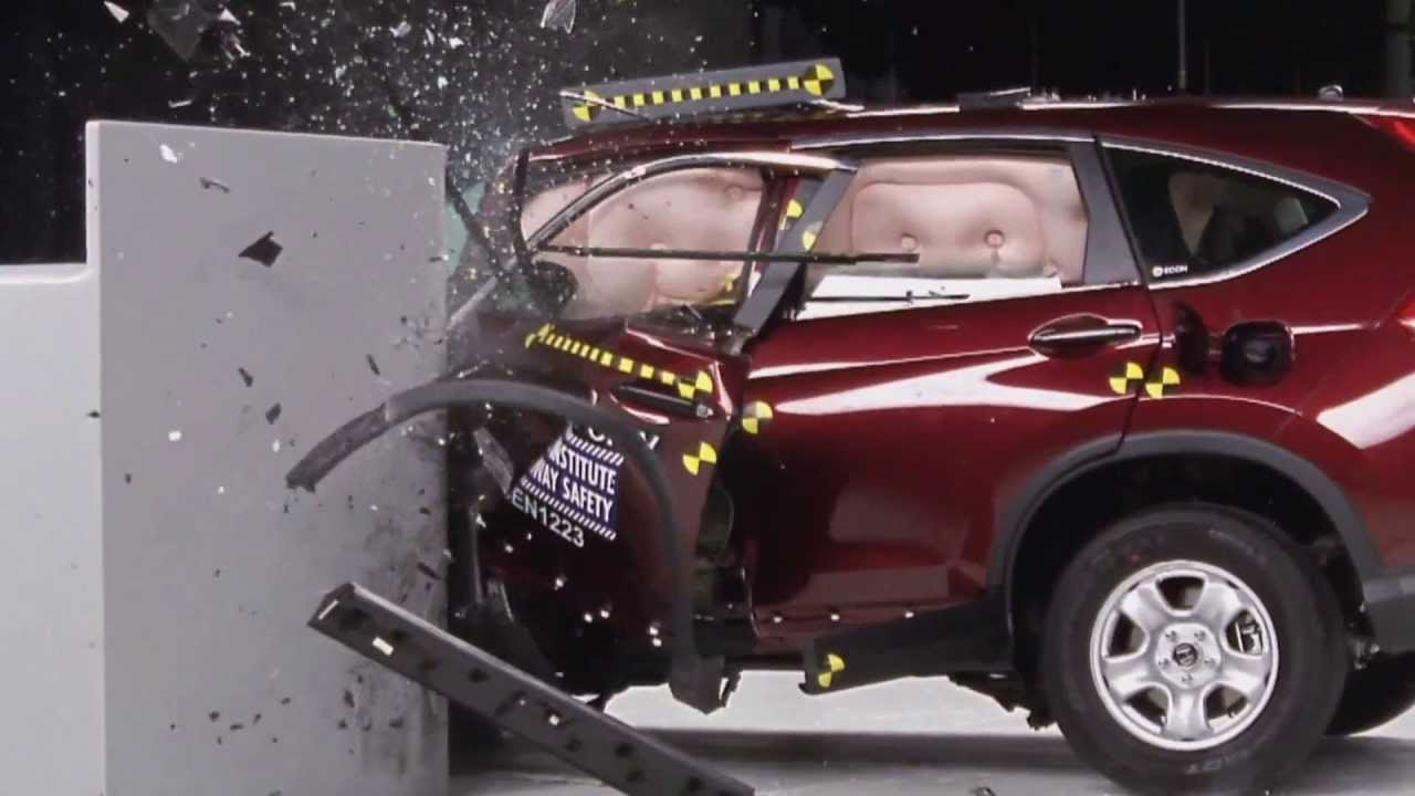 Iihs 2012 honda crv small overlap crash test marginal for Iihs honda crv
