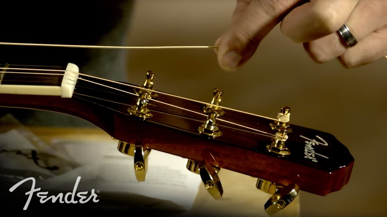 how to change your acoustic guitar strings fender [ 1280 x 720 Pixel ]