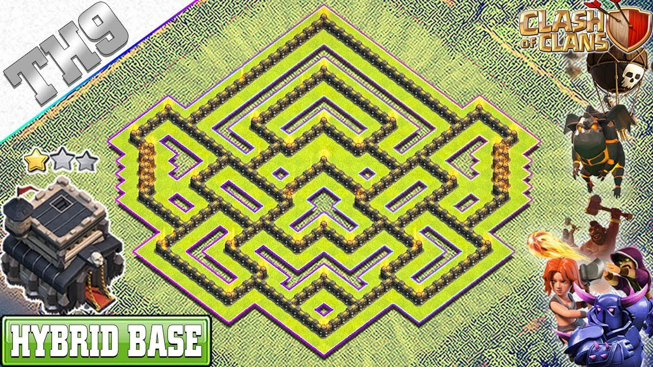 Best Th9 Hybrid Base 2019 Bes Coc Th 9 7