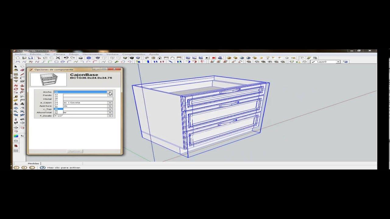 Gabinete de cocina Sketchup  YouTube -> Gabinete De Banheiro Sketchup
