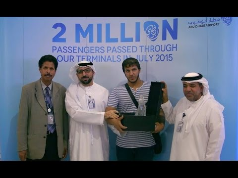 The Two Millionth Passenger in July 2015 arrives at Abu Dhabi International Airport
