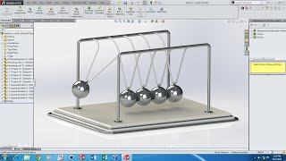 Solidworks Motion Simulation Tutorial - Newton's Cradle (with Audio)