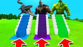 Download Video Minecraft PE : DO NOT CHOOSE THE WRONG WATER SLIDE! (Mosasaurus, Thanos & Hulk) MP3 3GP MP4