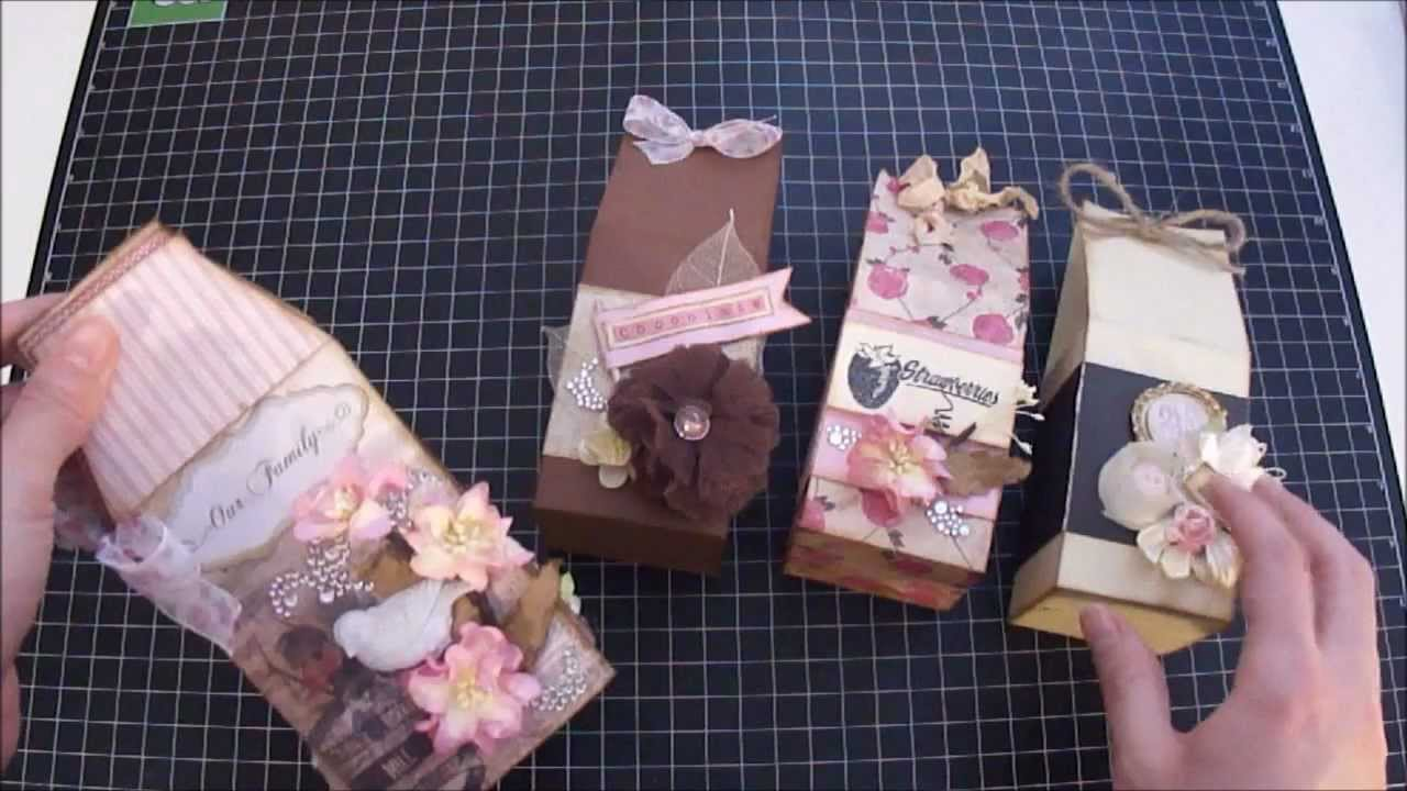 Scrapbook Mini Album Milk Carton Shaped Mini Album And Treat Boxes