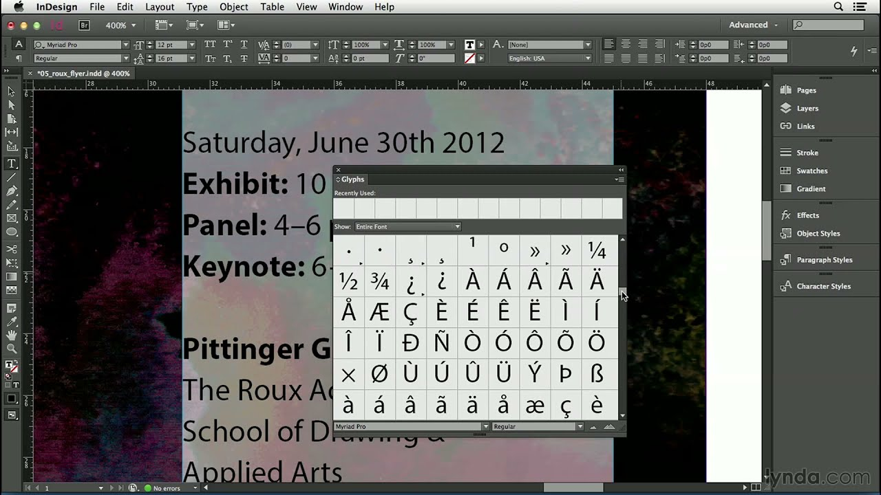Indesign Cc Tutorial Inserting Special Characters Lynda Youtube