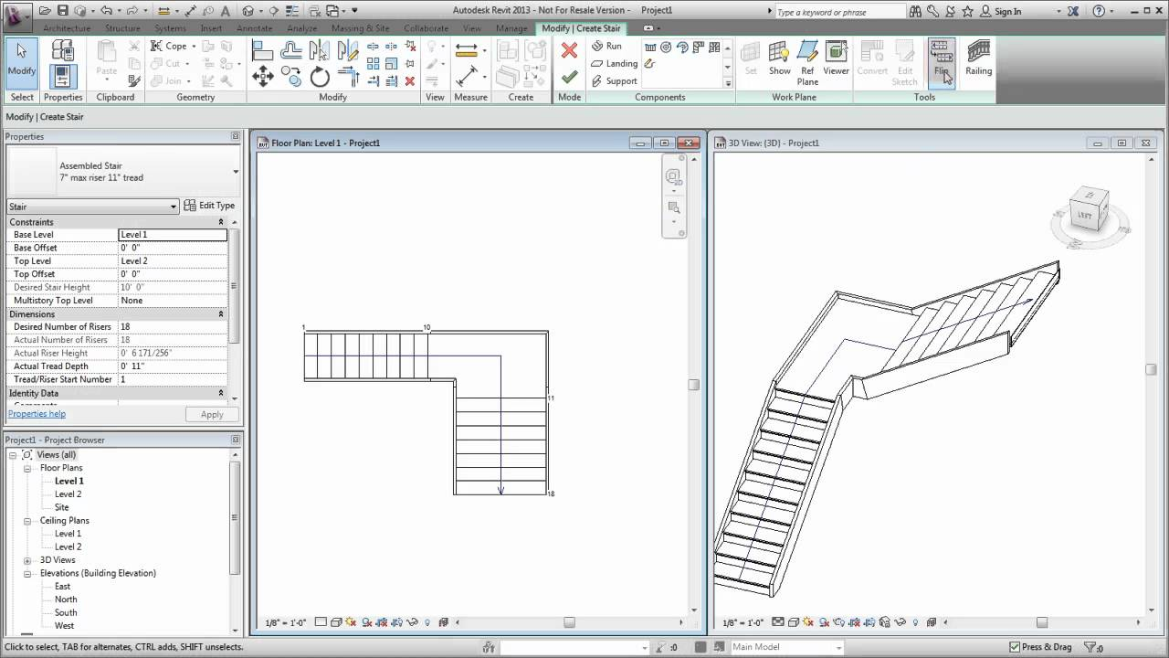 Autodesk Revit Creating A Custom Stair Youtube