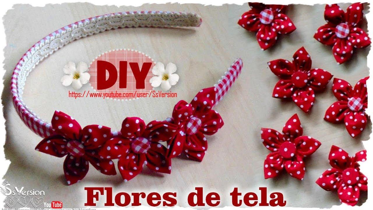 Diy como hacer flores de tela diy spring fabric flowers youtube - Flores de telas hechas a mano ...