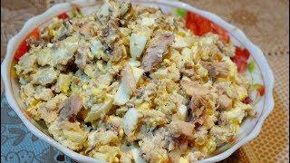 Салат из рыбных консервов | Простой рыбный салат.