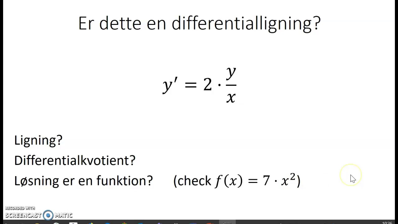 Intro til differentialligninger