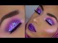 MONOCHROMATIC Purple Glitter Makeup Look With Purple Highlight