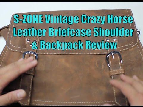 S ZONE Vintage Crazy Horse Leather Briefcase Shoulder   Backpack Review f9a5768f598de