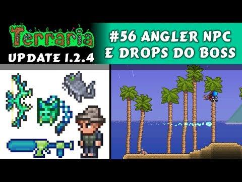 Angler NPC, Quests, Palmeiras e Drops do Duke Fishrom - Terraria 1.2 #56 PT BR
