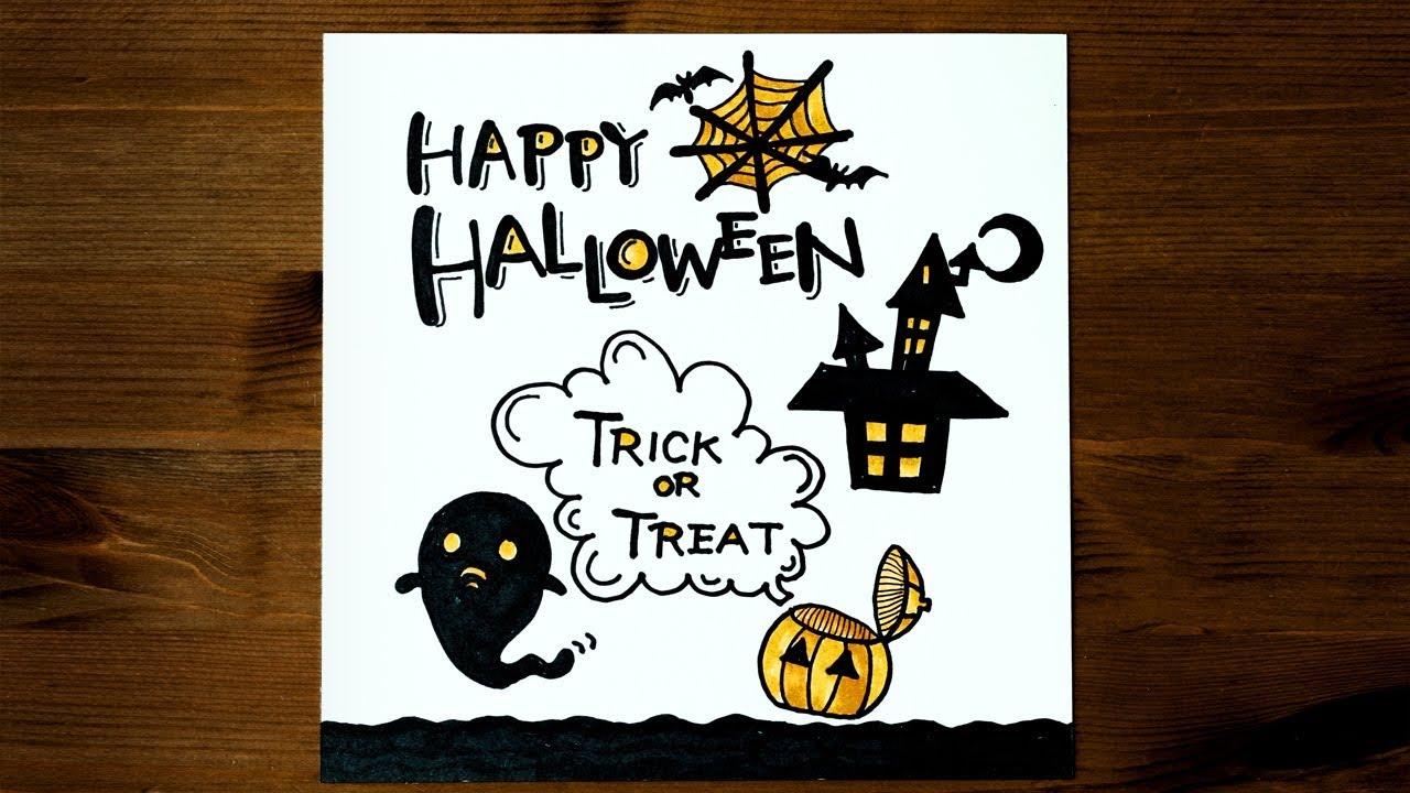かわいいハロウィン手書きイラスト書き方! 手作りpopカードに使える