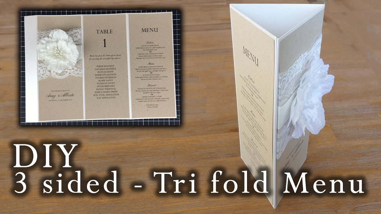 how to make a rustic 3 sided tri fold menu wedding menu diy