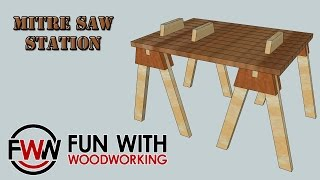 How To Make A Quick And Easy Mitre Saw Station Out Of Shop Made Saw Horses And Reclaimed Pallet Wood