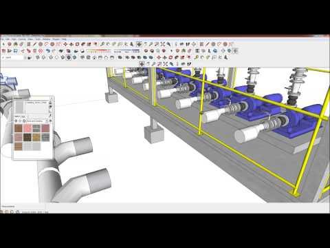 ตัวอย่างการเขียนงานระบบท่อและปั๊มด้วย Sketchup