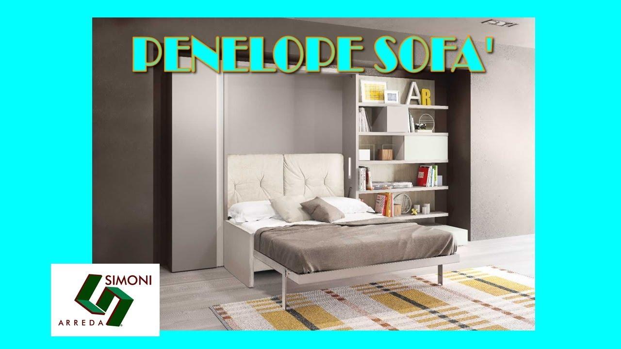 Letto a scomparsa matrimoniale penelope sofa 39 youtube for Simoni arreda milano
